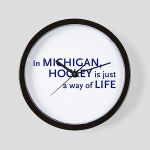 Hockey Michigan Wall Clock