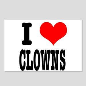 I Heart (Love) Clowns Postcards (Package of 8)