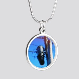 Beehive On Transformer Silver Round Necklace