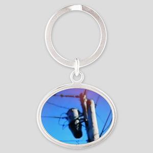 Beehive On Transformer Oval Keychain