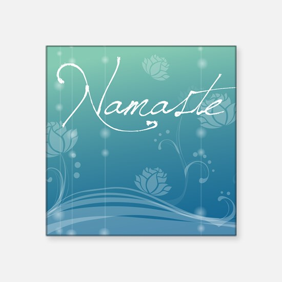 "Namaste Queen Duvet Square Sticker 3"" x 3"""