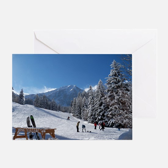 Ski Resort Scene Greeting Card
