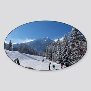 Ski Resort Scene Sticker (Oval)