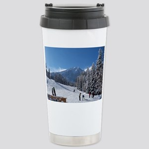 Ski Resort Scene Stainless Steel Travel Mug