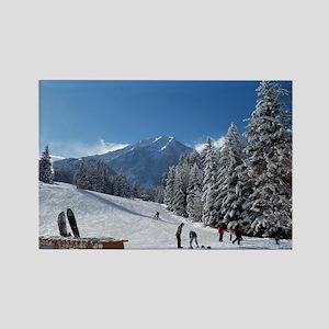 Ski Resort Scene Rectangle Magnet