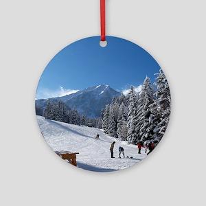 Ski Resort Scene Round Ornament