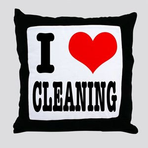 I Heart (Love) Cleaning Throw Pillow