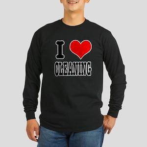 I Heart (Love) Cleaning Long Sleeve Dark T-Shirt