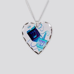 Two Dreidels-Happy Spinning Necklace Heart Charm
