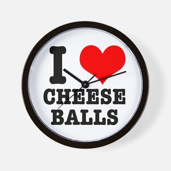 I Heart (Love) Cheese Balls Wall Clock