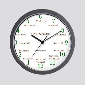 """Clock face """"Saa ngapi?"""" Wall Clock"""