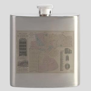 Vintage Map of Newark NJ (1879) Flask