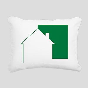Green Team House Icon Rectangular Canvas Pillow