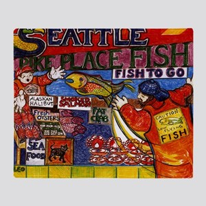 Seattle Fish Market Throw Blanket