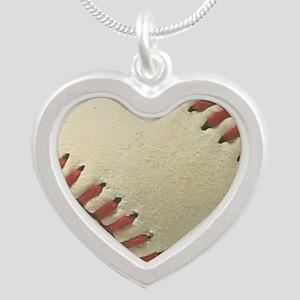 Baseball Silver Heart Necklace