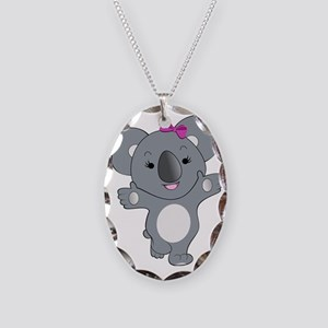Koala Girl1 Necklace Oval Charm