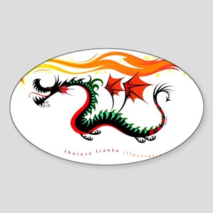 Fiery Dragon Sticker (Oval)