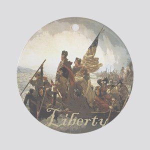 Crossing The Delaware Liberty Round Ornament