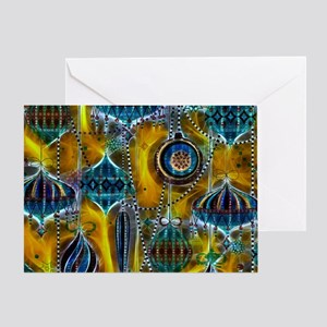 Blue Ornaments With A Yellow Glow Greeting Card