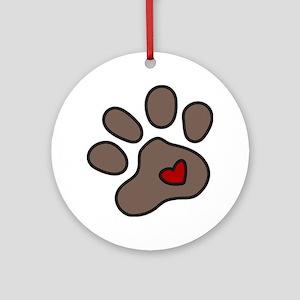 Puppy Paw Round Ornament