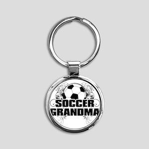 Soccer Grandma (cross) Round Keychain