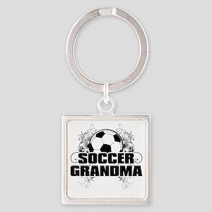 Soccer Grandma (cross) Square Keychain