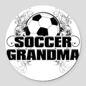 Soccer Grandma (cross) Round Car Magnet