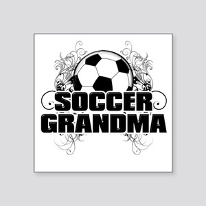 "Soccer Grandma (cross) Square Sticker 3"" x 3"""