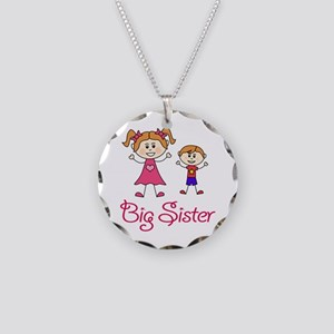 Big Sister with Little Broth Necklace Circle Charm
