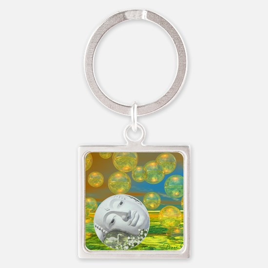 Peace – Golden and Emerald Serenit Square Keychain