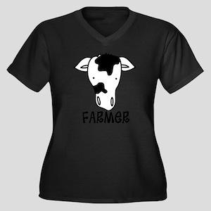 Farmer Women's Plus Size Dark V-Neck T-Shirt