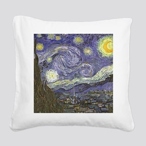Van Gogh Starry Night Square Canvas Pillow