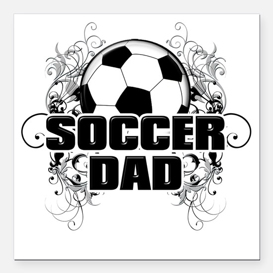 "Soccer Dad (cross) copy Square Car Magnet 3"" x 3"""