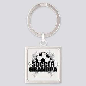 Soccer Grandpa (cross) Square Keychain