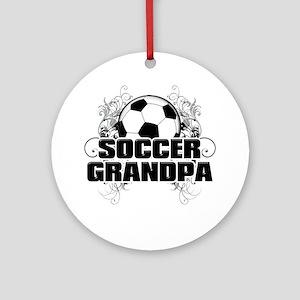 Soccer Grandpa (cross) Round Ornament