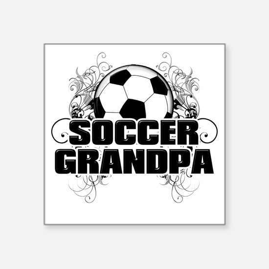 "Soccer Grandpa (cross) Square Sticker 3"" x 3"""