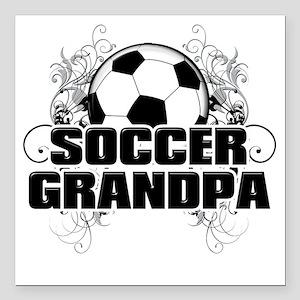 "Soccer Grandpa (cross) Square Car Magnet 3"" x 3"""