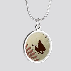 iCatch Baseball Silver Round Necklace