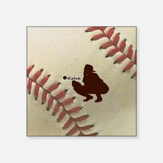 "iCatch Baseball Square Sticker 3"" x 3"""