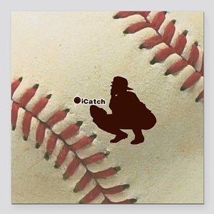 "iCatch Baseball Square Car Magnet 3"" x 3"""