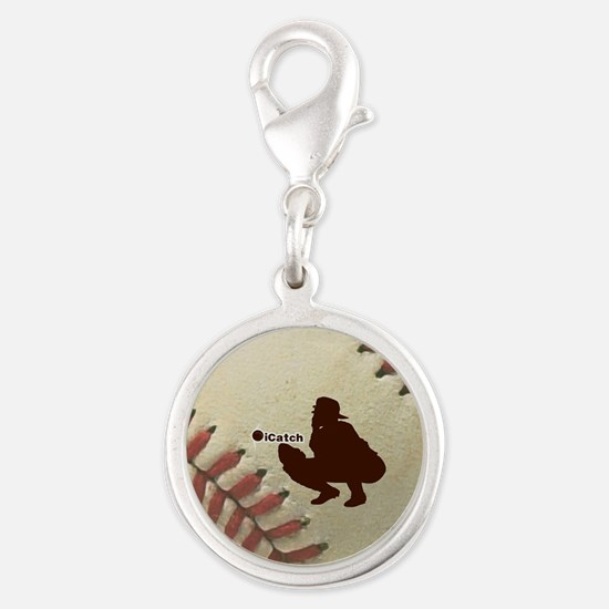 iCatch Baseball Silver Round Charm