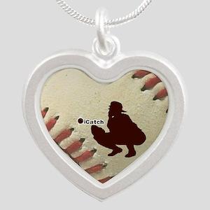 iCatch Baseball Silver Heart Necklace
