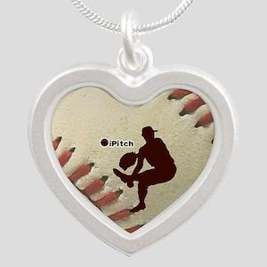 iPitch Baseball Silver Heart Necklace
