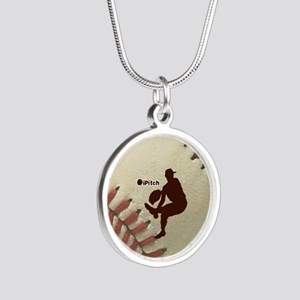 iPitch Baseball Silver Round Necklace