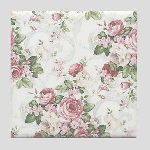 vintage rose Tile Coaster