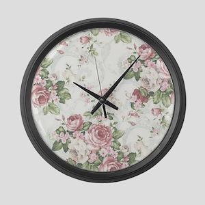 vintage rose Large Wall Clock