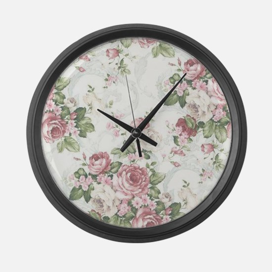 vintage rose Large Wall Clock