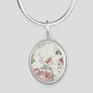vintage rose Silver Oval Necklace