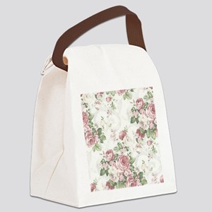vintage rose Canvas Lunch Bag