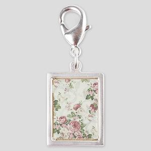 vintage rose Silver Portrait Charm